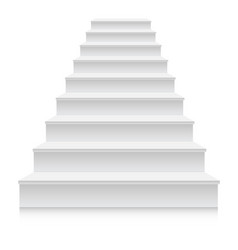 White stair template front view 3d isolated vector