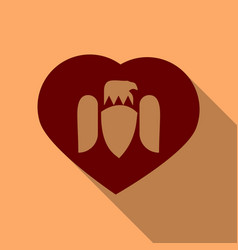 Wings heart emblem in flat style in shadow vector
