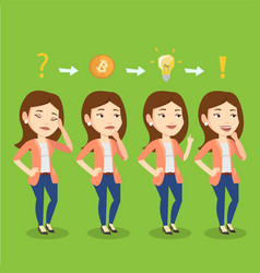 woman got idea for cryptocurrency business project vector image