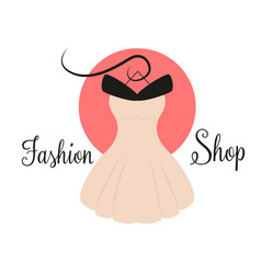 women fashion logo design template dress emblem vector image