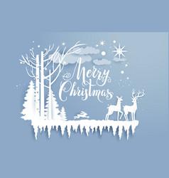 wood snowflakes and deers vector image