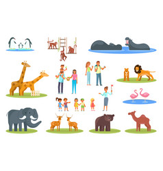 zoo icon set flat style design vector image