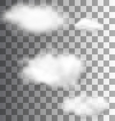 Set Fluffy Transparent Clouds vector image