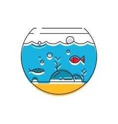 Aquarium icon Colorful fish in the aquarium vector image