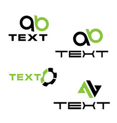 logos set with letters a and b vector image