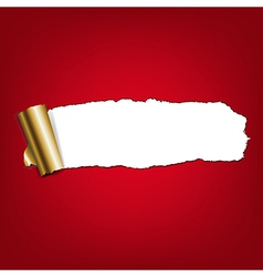 Red Paper Torn With Gold Torn vector image vector image
