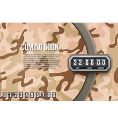Background coming soon and countdown timer camo vector