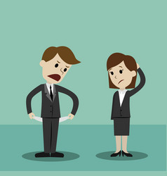 Businessman and businesswomen standing and showing vector