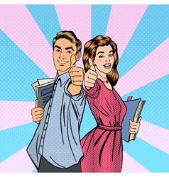 Couple of Students Man and Woman Gesturing Great vector image