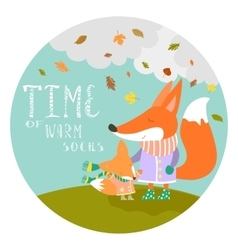 Cute fox with her cub vector image vector image