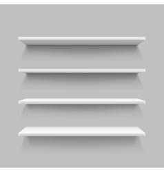 Empty white shop shelf retail shelves 3d store vector image vector image