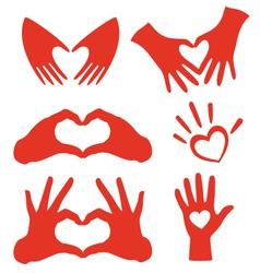 heart hands set vector image vector image