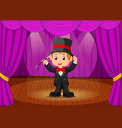 magician performing on a stage vector image