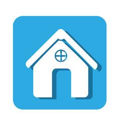square button simple facade house icon design vector image