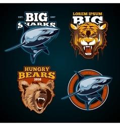 Vintage animal color labels badges emblem vector image