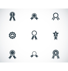 black award medal icons set vector image vector image
