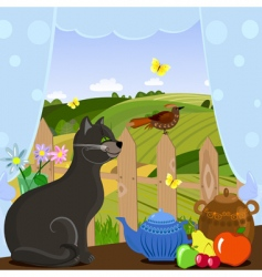 cat watching a bird vector image