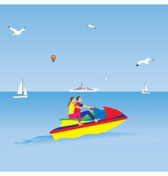 Couple on a jet ski Summer vacation vector image