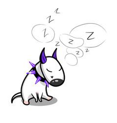 cute cartoon dog sleeping white bull vector image vector image