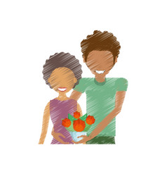 drawing couple smiling with bouquet vector image