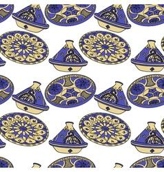 Seamless pattern of blue arabic crockery vector
