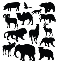 silhouette of animals vector image vector image