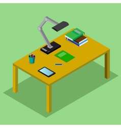 Table with books lamp the tablet vector image
