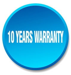 10 years warranty blue round flat isolated push vector