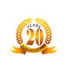 20 years ribbon anniversary vector