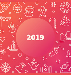 2019 new year colorful outline square frame vector image