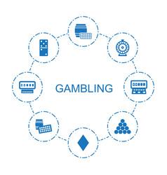 8 gambling icons vector