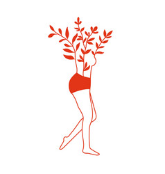 Abstract with female body and twigs with red vector