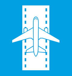 Airplane on the runway icon white vector