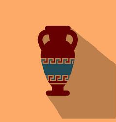 Amphora from greece in flat style with shadow vector