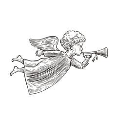 angel sketch hand drawn symbol vintage vector image
