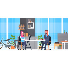 Arabic business man and woman sitting at office vector