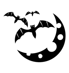 Bats and moon icon simple style vector
