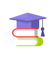 Books and students cap set vector