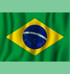 Brazil realistic waving flag national country vector