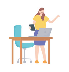 business woman book laptop on desk with chair vector image
