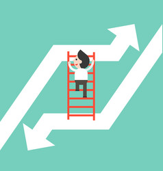 Businessman climbing ladder moving from falling vector