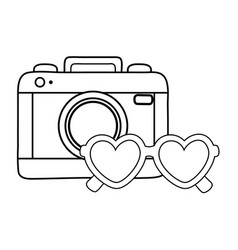 camera and heart sunglasses black and white vector image