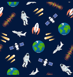 cartoon color astronomy seamless pattern vector image