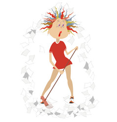 cartoon tired woman tidying up isolat vector image