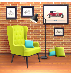 Chair Realistic Interior Poster vector
