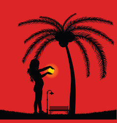 child holds the sun in the sunset vector image