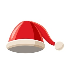 Christmas hat with pompom icon cartoon style vector
