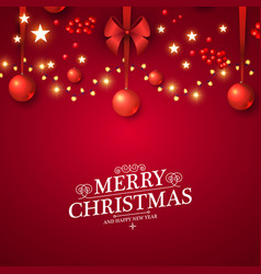 christmas red background with lights glosst balls vector image