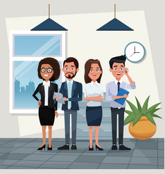 Color background workplace office full body set of vector