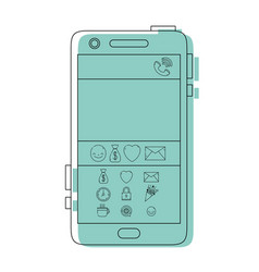 Color smartphone technology with chat emojis vector